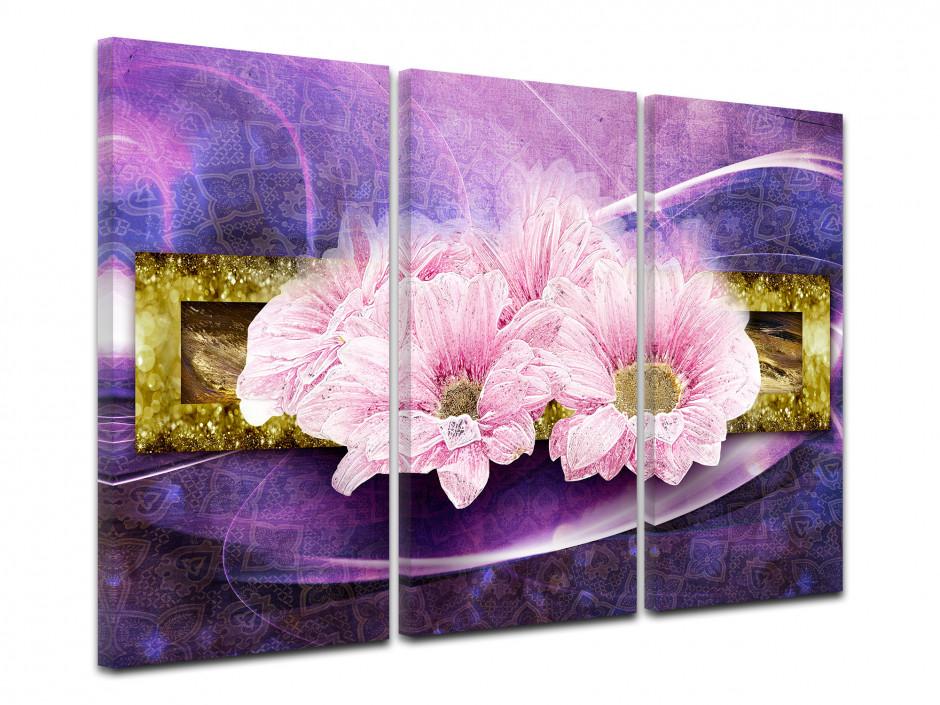 Tableau deco triptyque Fleurs moderne