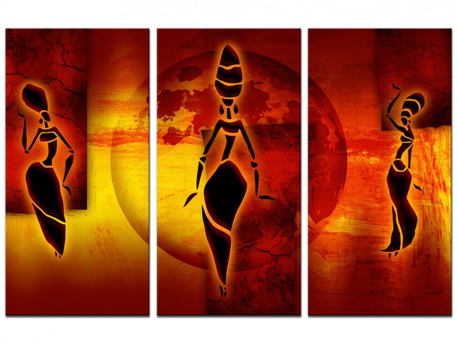 Tableau toile triptyque TROIS AFRICAINES