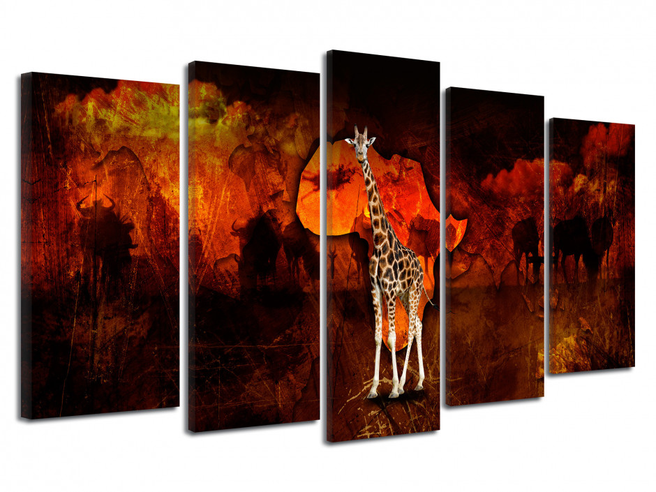 Tableau toile africain photo GIRAFE