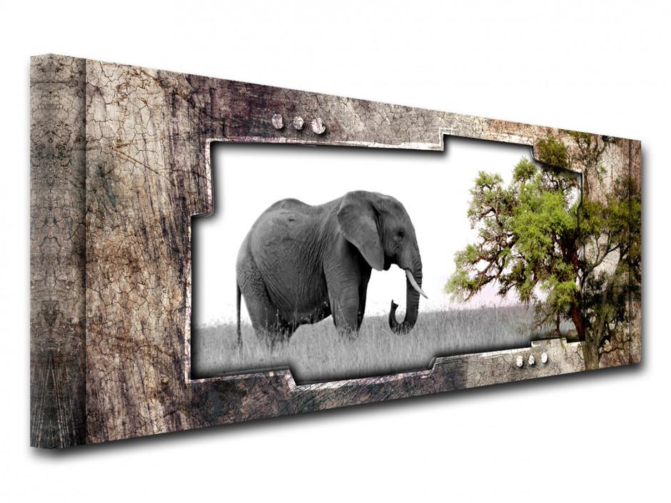 Tableau toile panorama PAYSAGE AFRICAIN ÉLÉPHANT