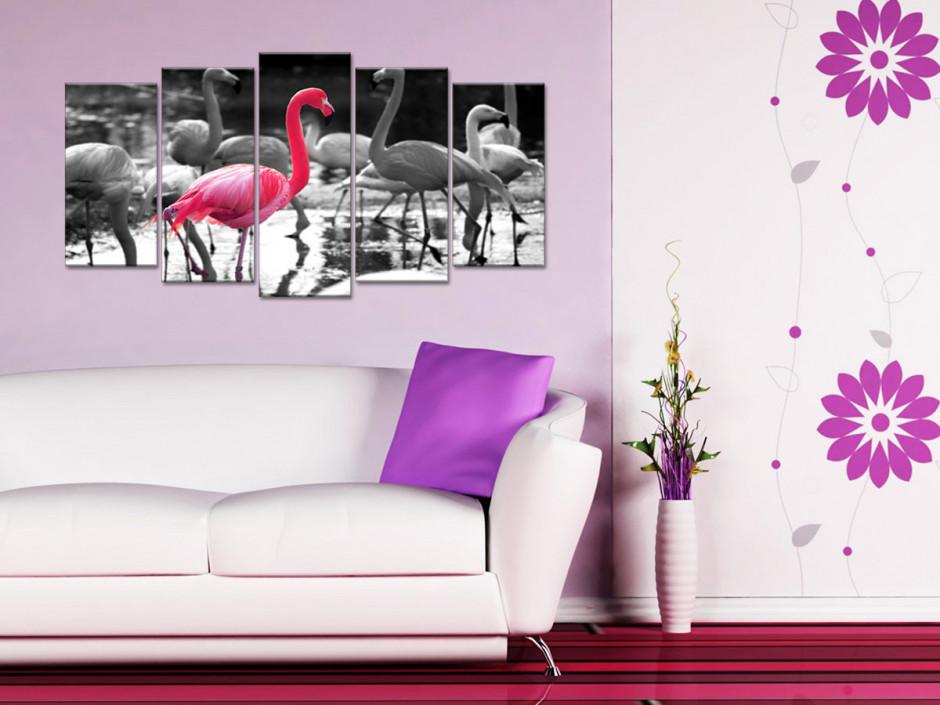 Tableau toile noir et blanc FLAMANT ROSE