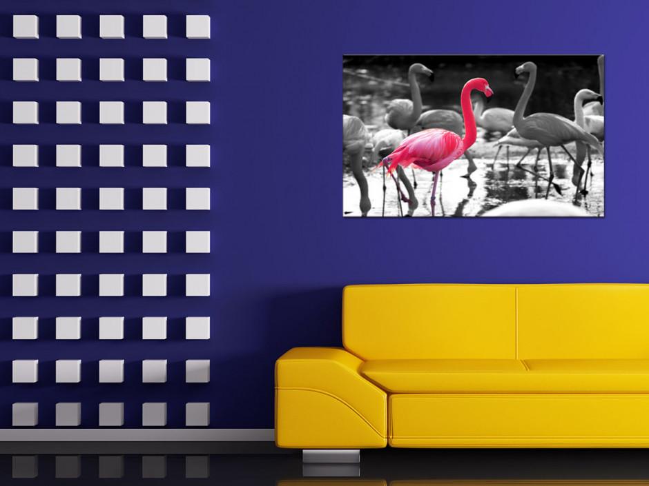 Tableau toile décoration FLAMANTS ROSES