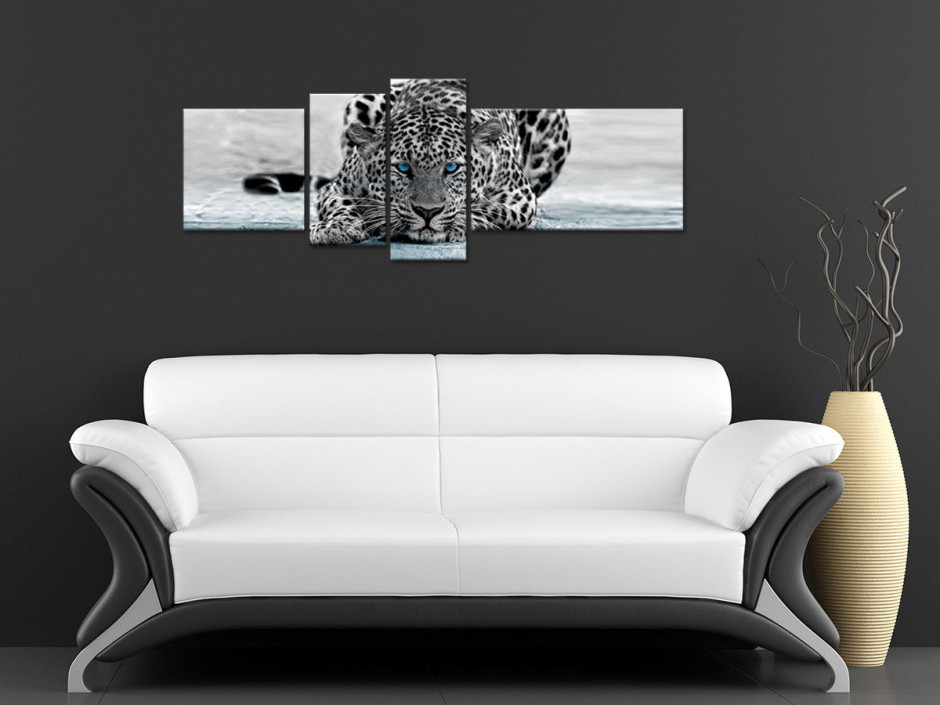 Tableau toile noir et blanc LÉOPARD