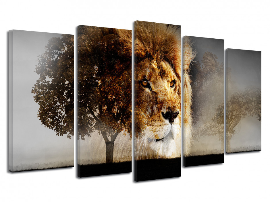 Tableau toile photo LION ET SAVANE