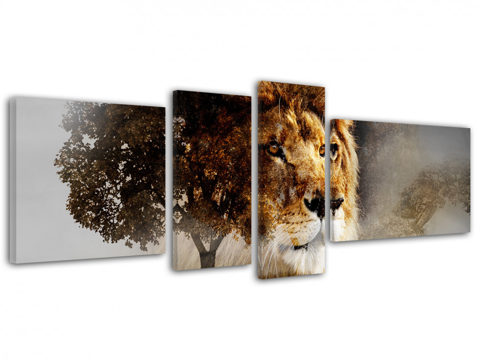 Tableau toile animaux LION SAUVAGE