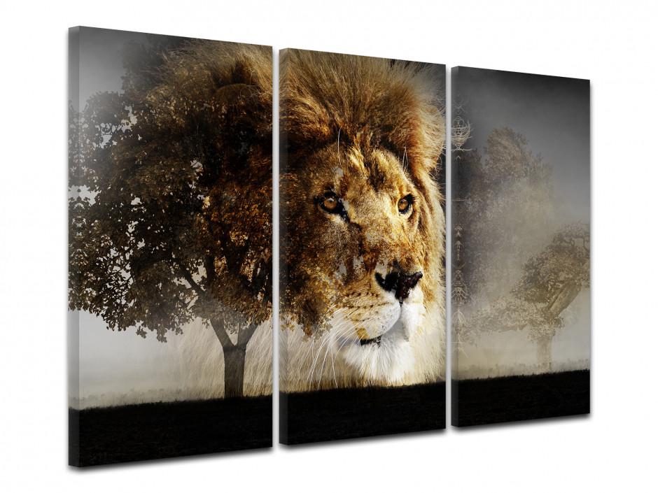 Tableau toile triptyque LION DANS LA SAVANE