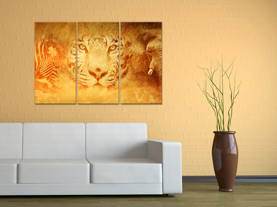 Tableau toile triptyque ANIMAUX SAUVAGES