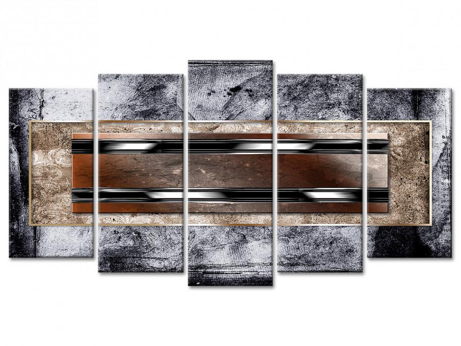 Tableau toile deco art abstrait BANDES NOIRES