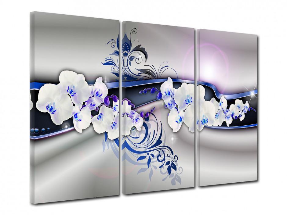 Tableau toile triptyque fleurs BELLES ORCHIDÉES
