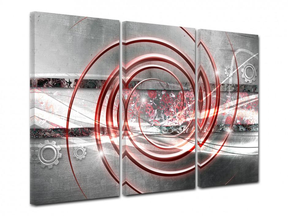 Tableau toile triptyque abstrait MÉCANISME
