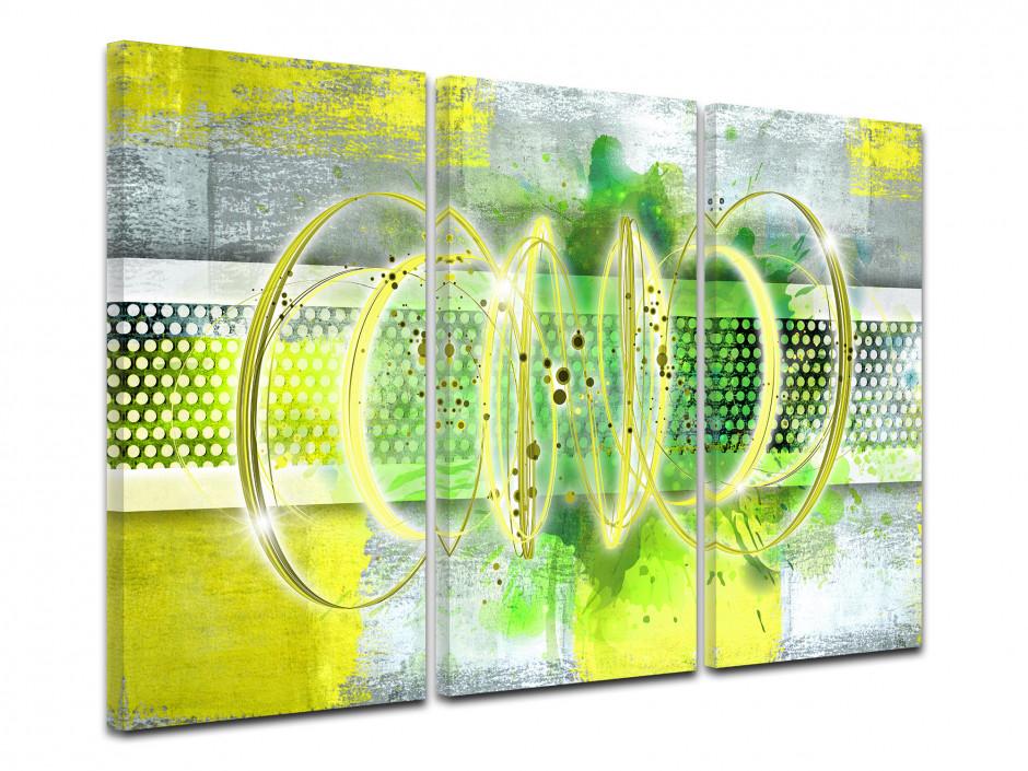 Tableau toile triptyque abstrait déco RUCHE