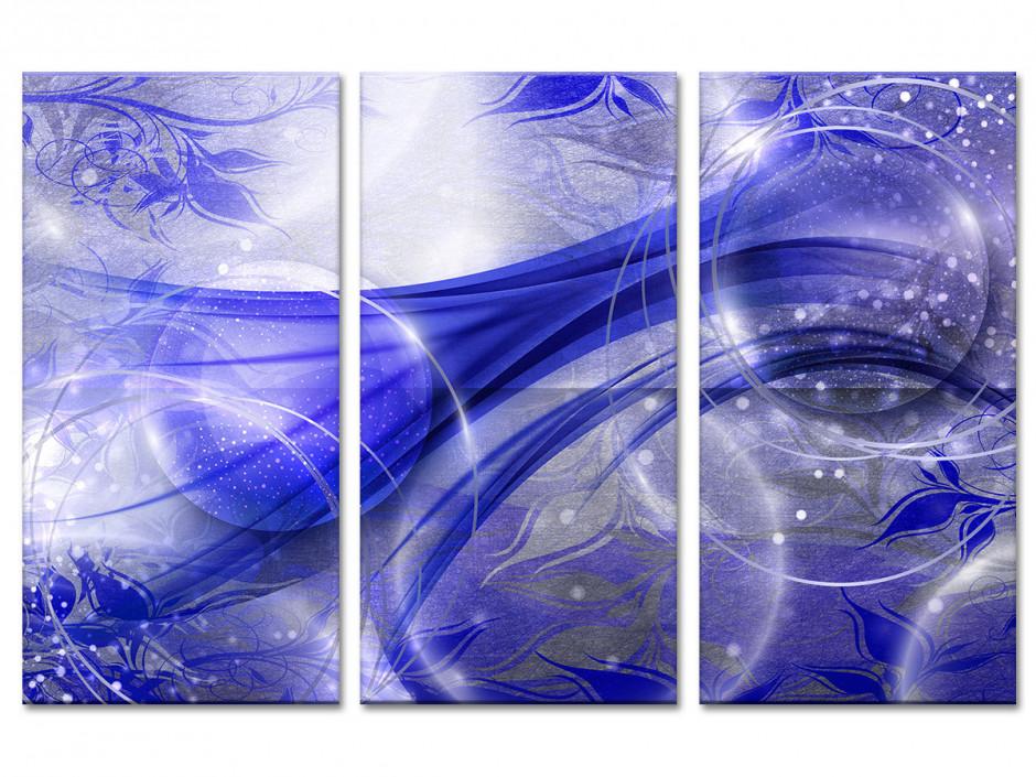 Tableau toile triptyque abstrait BOULE MAGNÉTIQUE