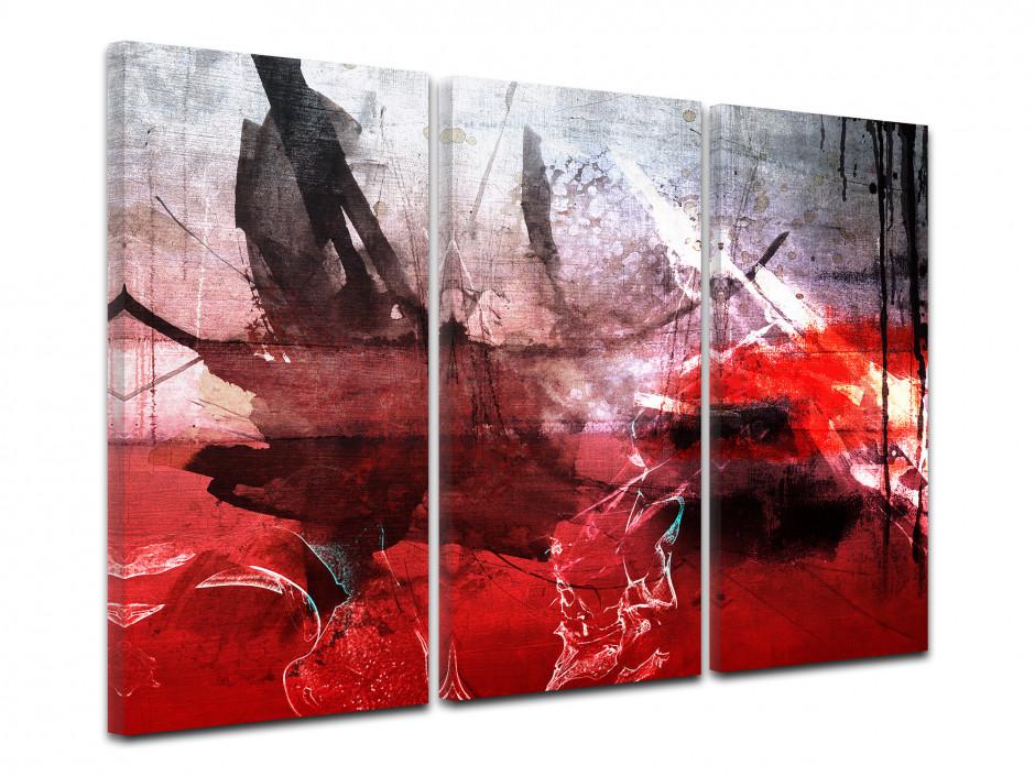 Tableau toile triptyque peinture abstraite TÂCHES D'ENCRE