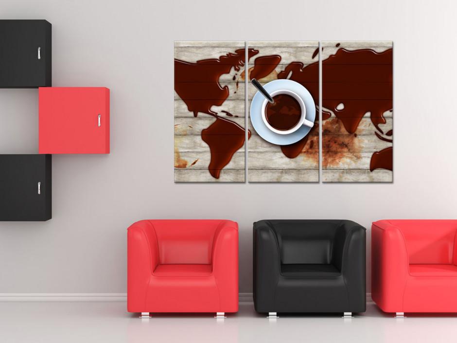 Tableau triptyque Carte du monde et Café