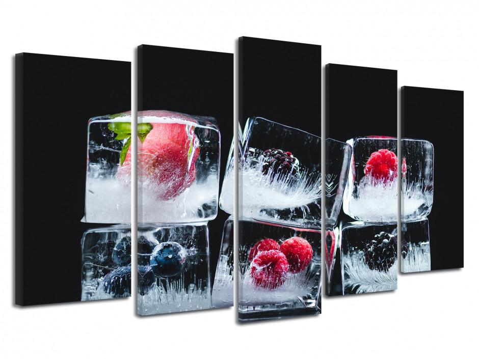 Cadre déco 5 Panneaux Glaçons de Fruits