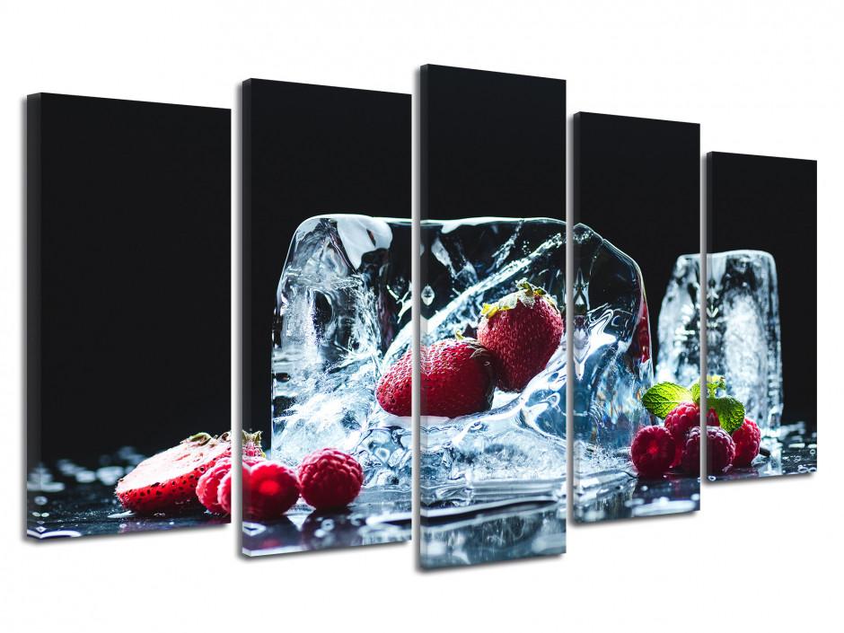 Cadre photo déco 5 Panneaux Les Fruits Rouge