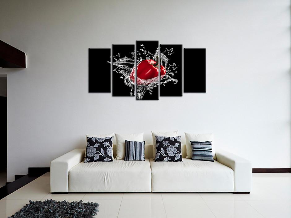 Tableau toile déco 5 Panneaux Le Poivron rouge