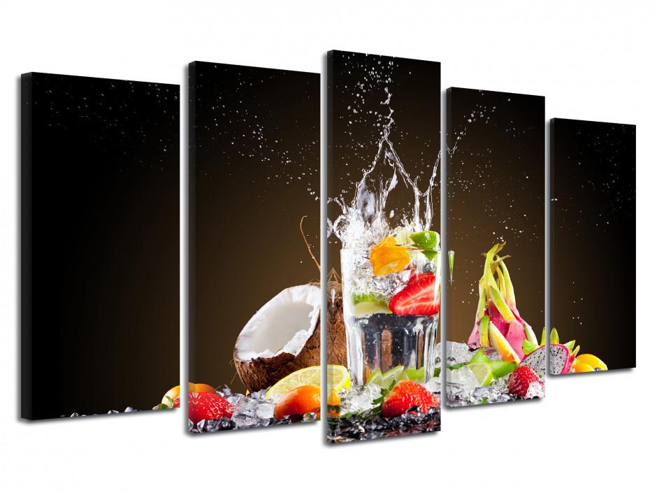 Tableau 5 panneaux Explosion de Fruits