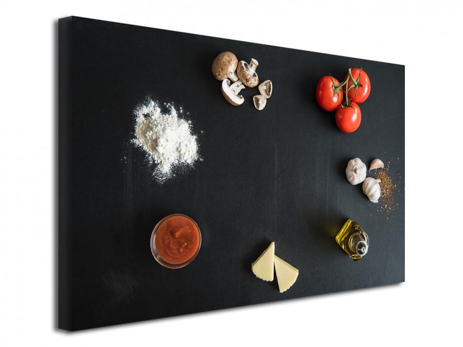 Tableau toile deco cuisine Ingredients Pizza