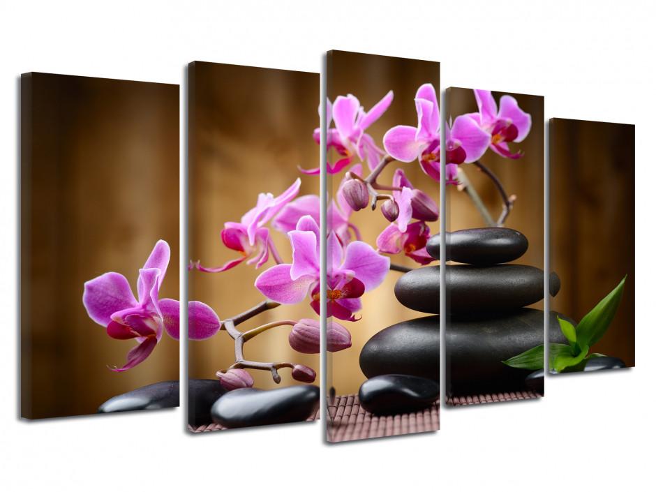 Tableau zen orchidée et galet noir