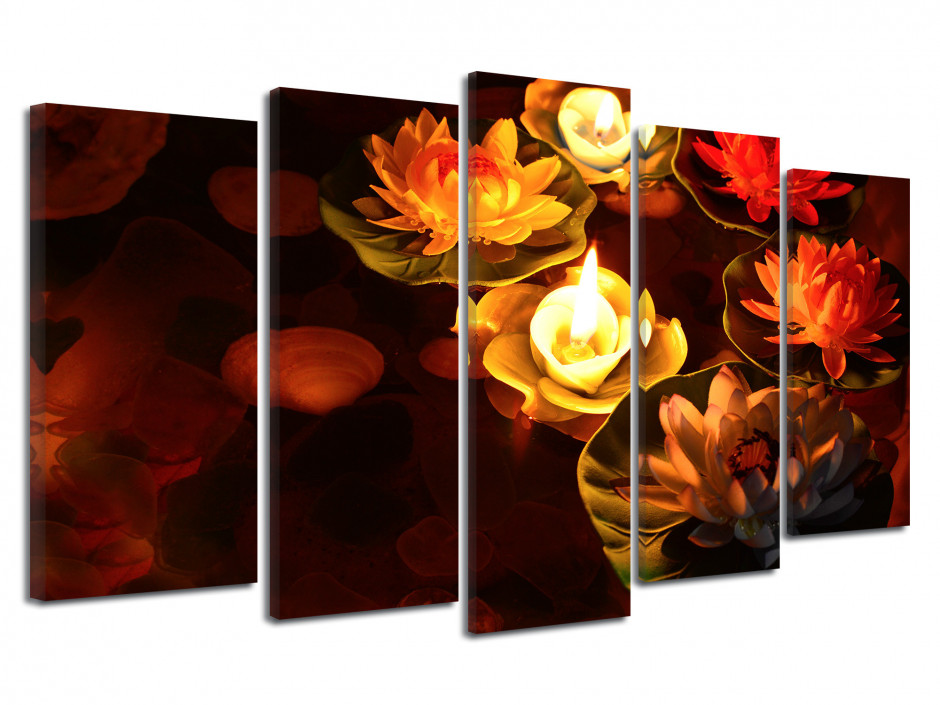 Tableau 5 panneaux XXL ambiance zen