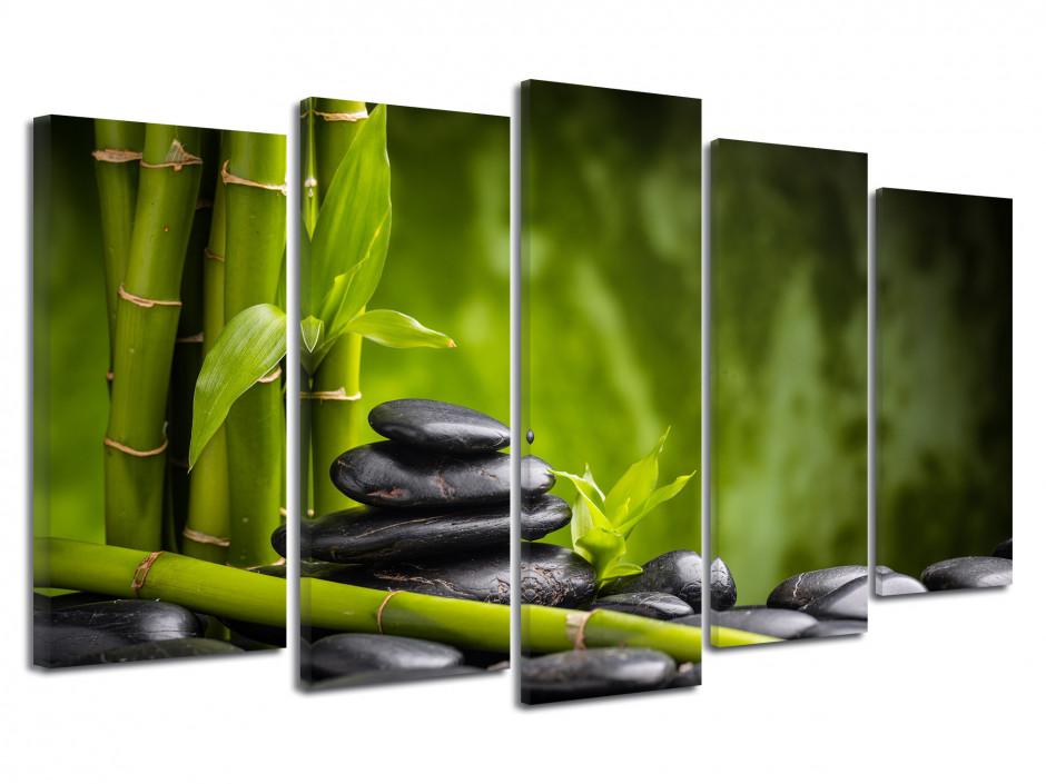 Tableau bambou et galet noir 5 panneaux