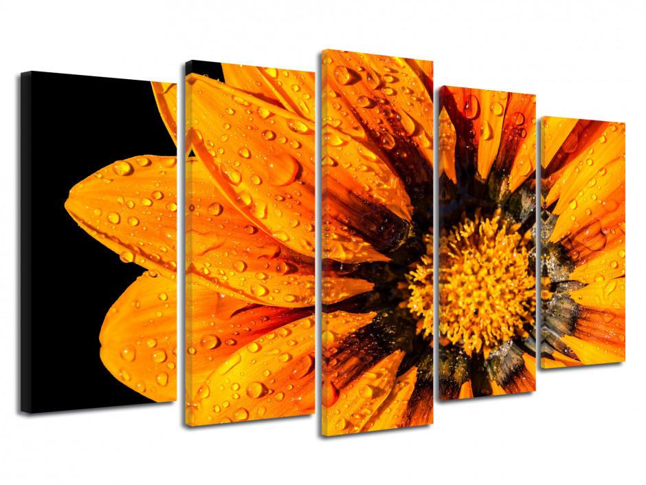 Tableau grand format fleurs orange