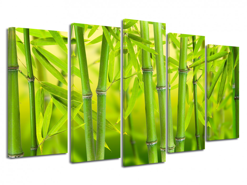 Tableau deco 5 panneaux Bambou