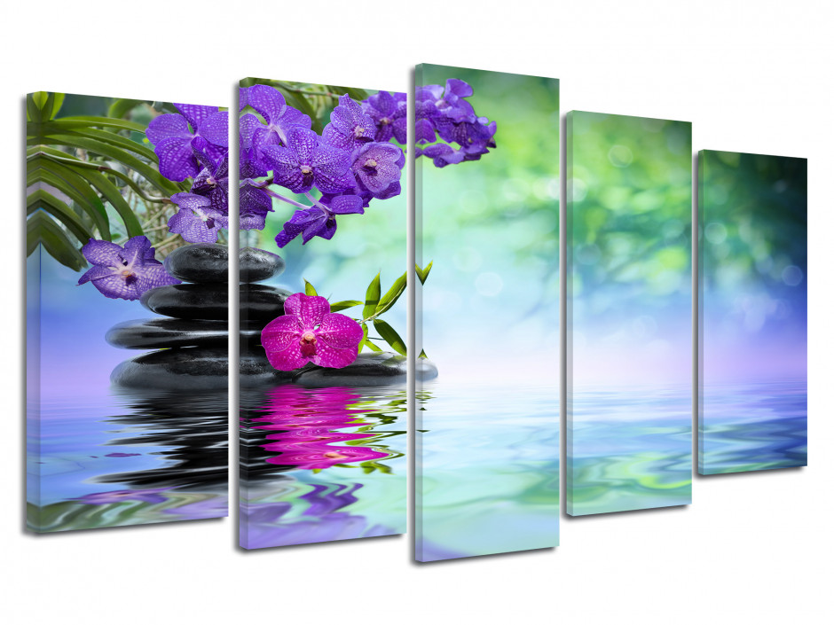 Tableau jardin zen fleurs orchidée