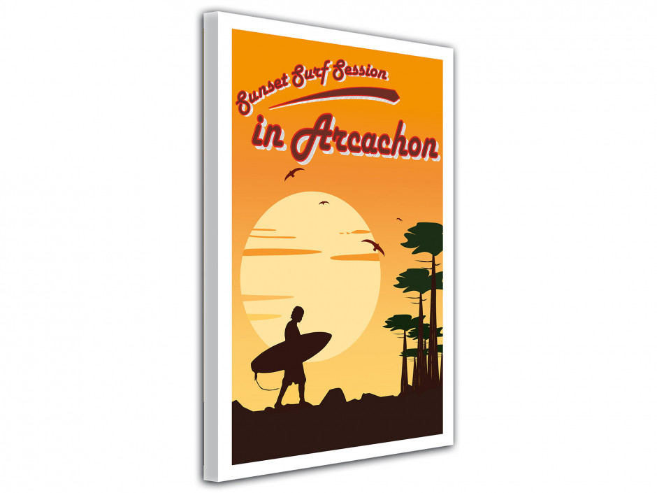 Tableu affiche illustrée Sunset Surf Session in Hossegor