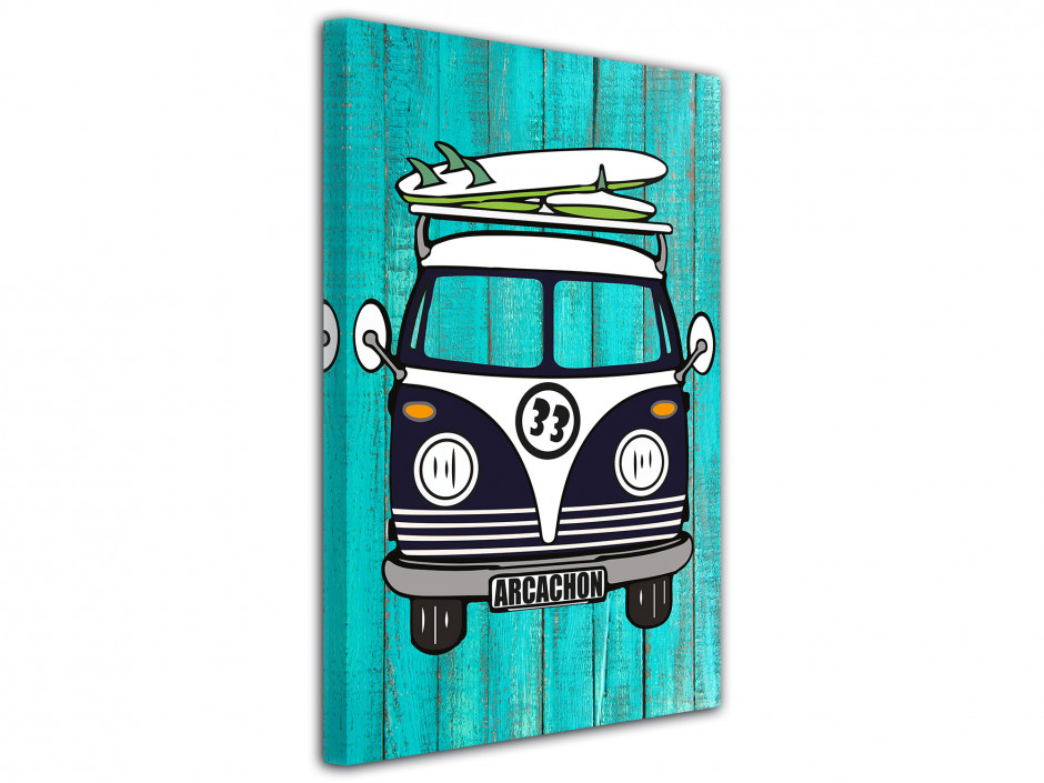 Tableau deco illustration Transporteur VW Arcachon