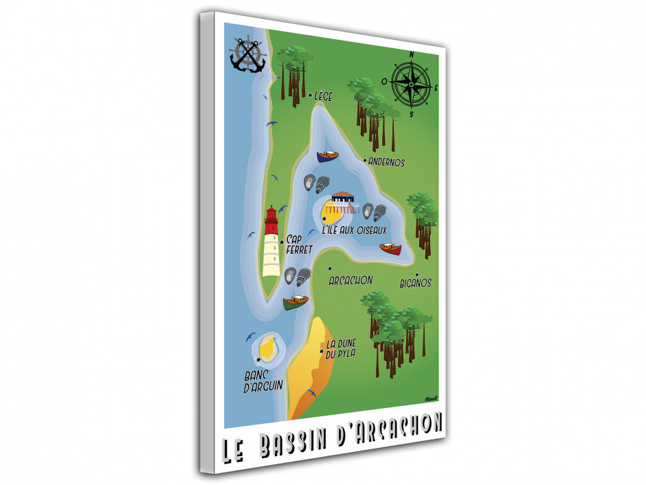 Affiche illustration graphique La Carte du Bassin d'Arcachon