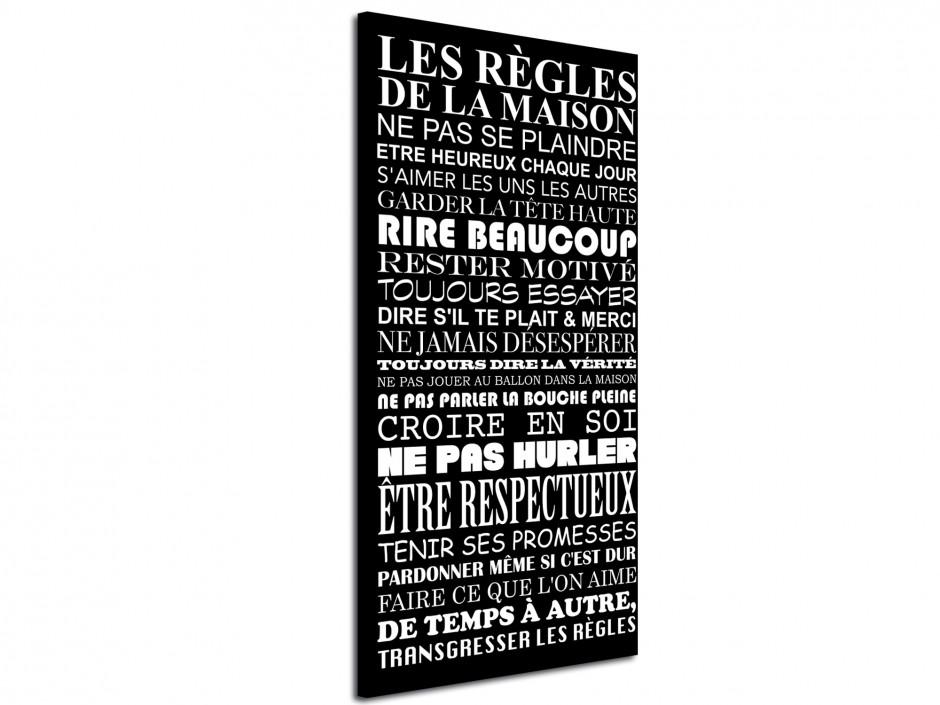 Tableau toile déco Les Règles de la Maison Noir et Blanc