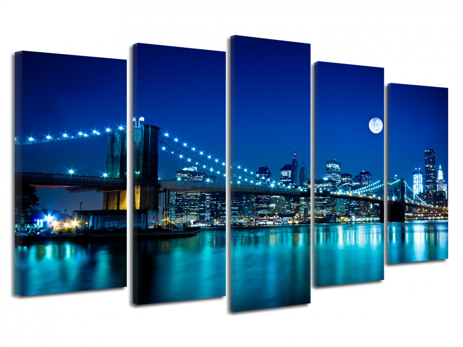 Tableau photo Pont de Brooklyn de Nuit
