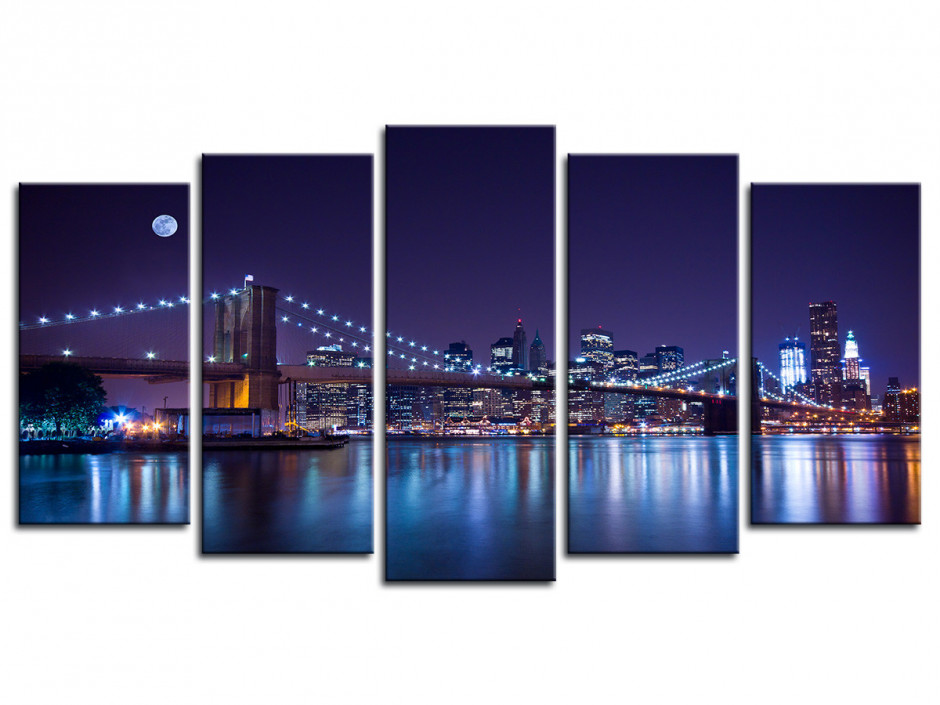Tableau 5 Panneaux Pont de Brooklyn