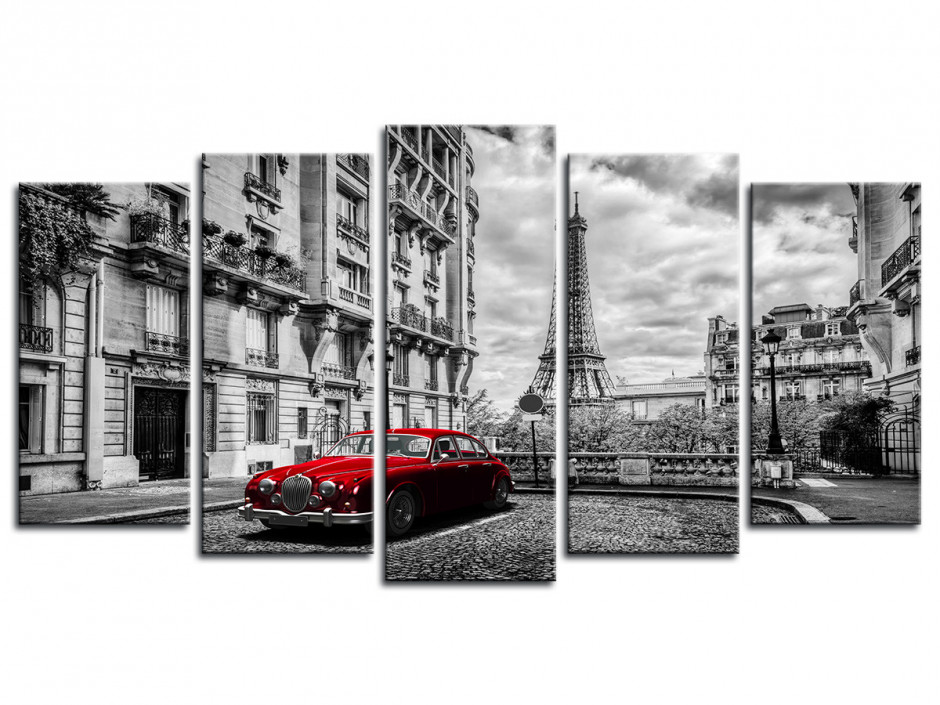 Tableau photo Paris et Limousine rouge