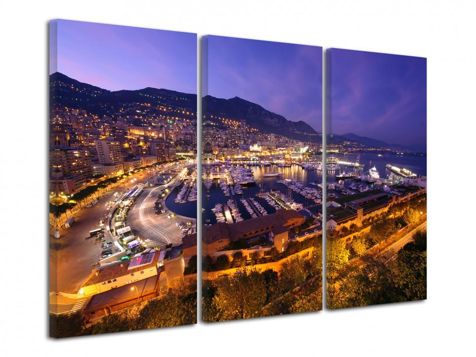 Tableau toile triptyque Port de Monaco