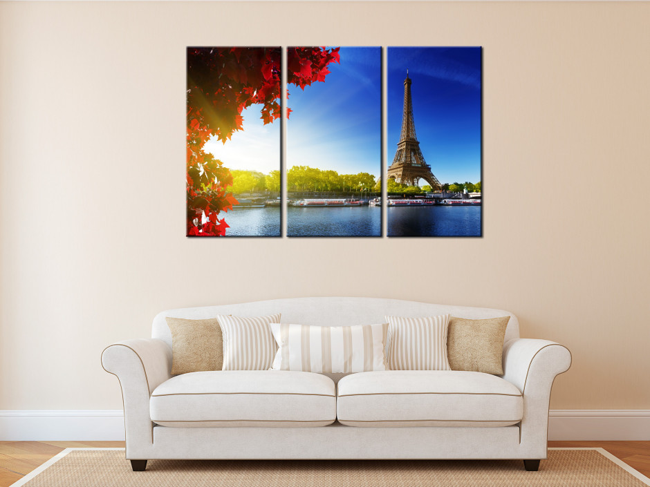 Tableau toile triptyque Paris Tour Eiffel