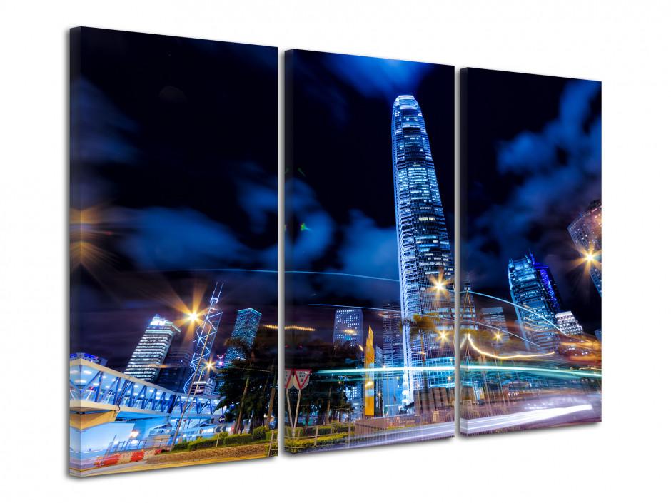Tableau triptyque Hong Kong de nuit