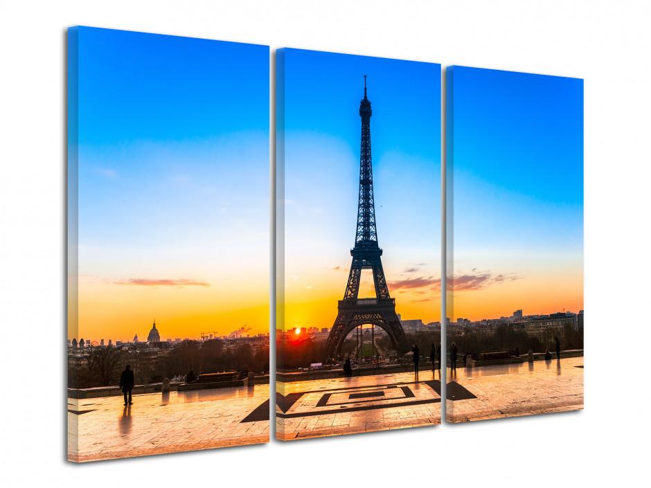 Tableau triptyque coucher de soleil sur la Tour Eiffel