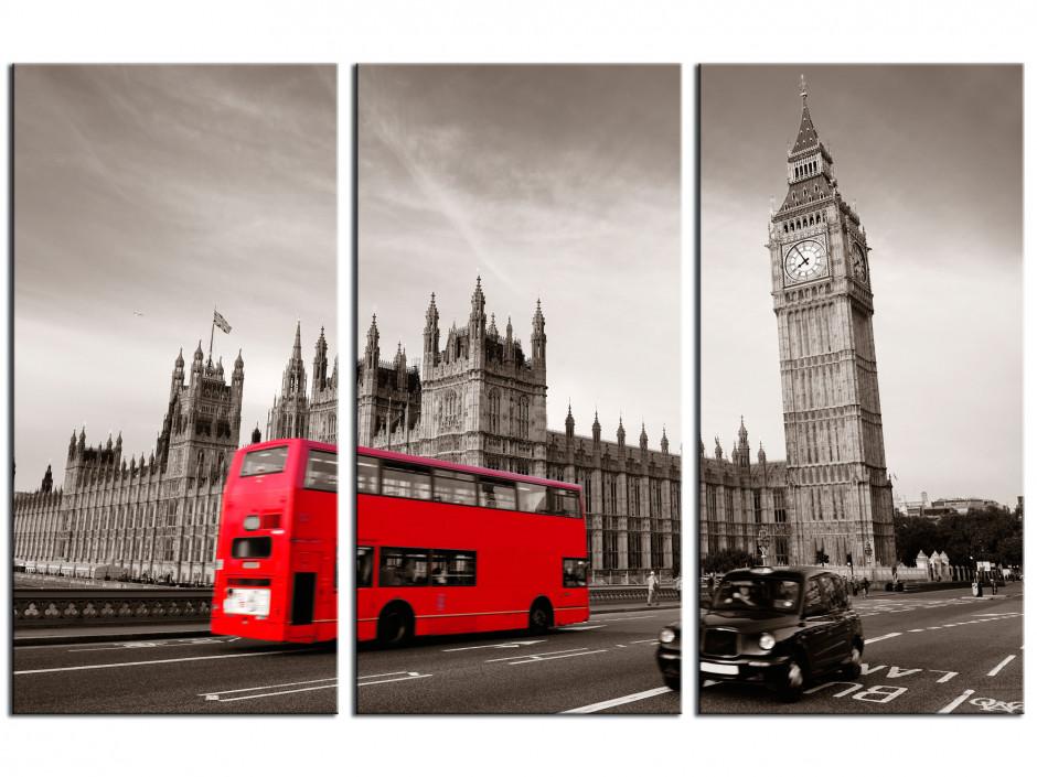 Tableau triptyque Londres noir et Blanc et bus rouge