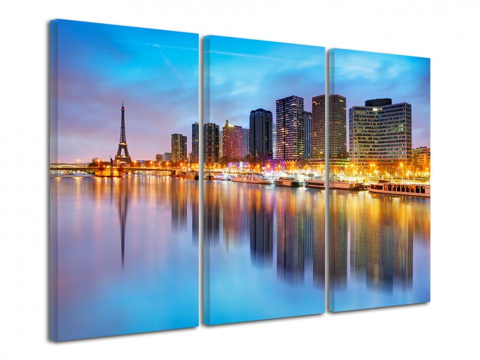 Tableau triptyque la Seine et Tour Eiffel de nuit