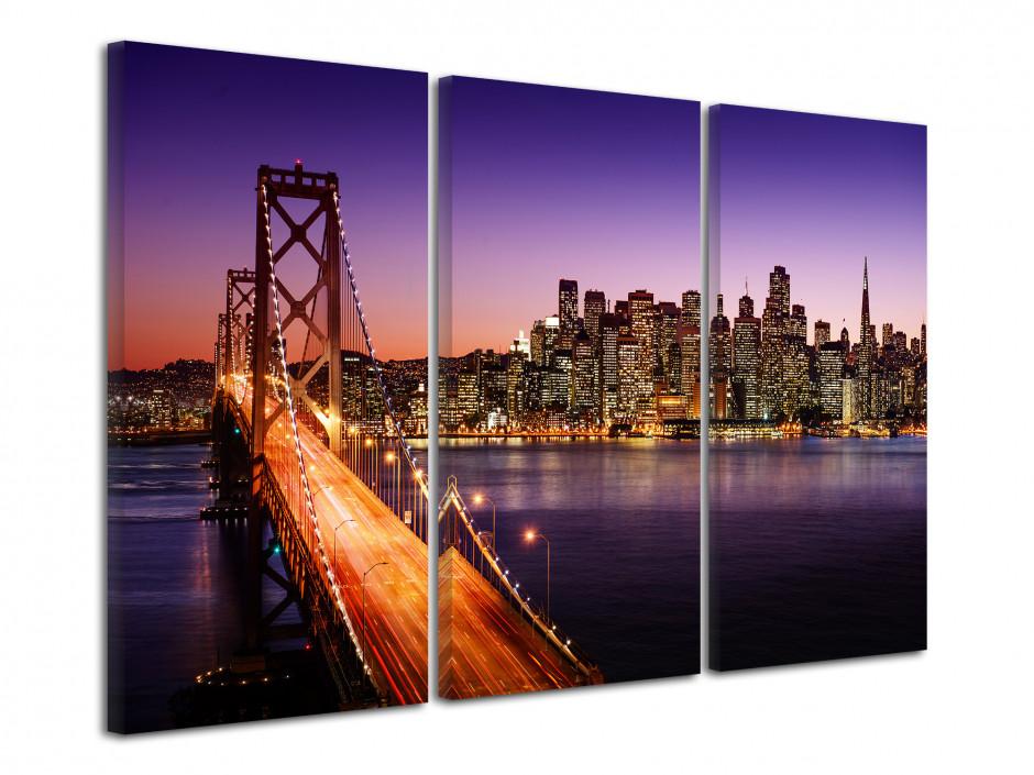 Tableau triptyque San Francisco de Nuit