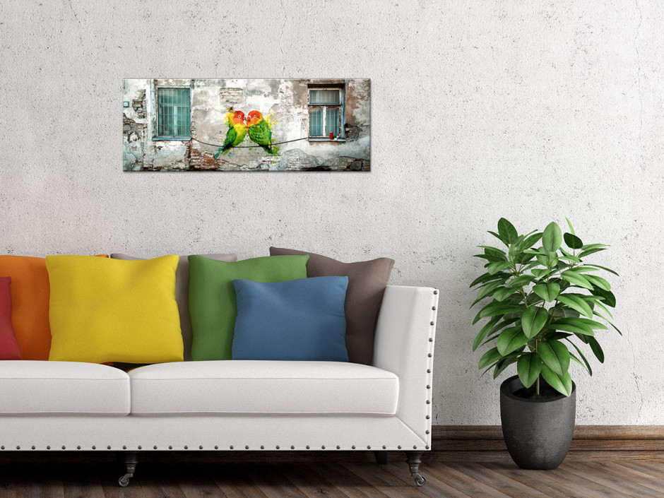 Tableau toile panoramique PERRUCHES