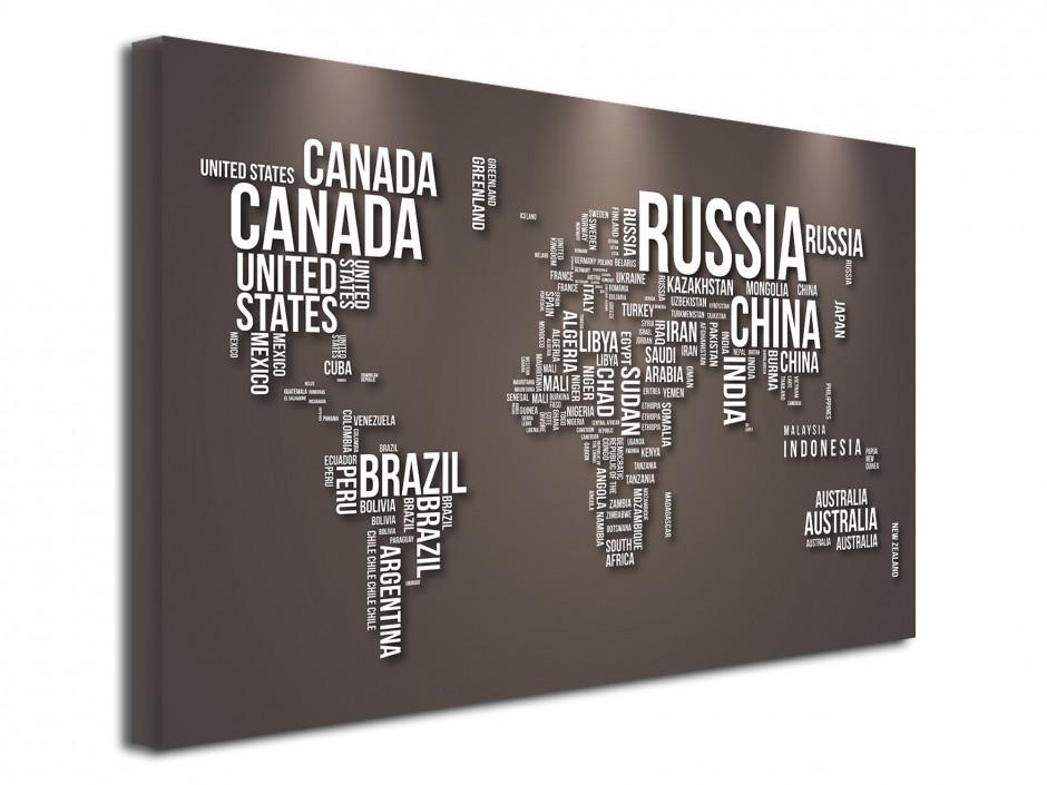 Tableau toile Nom de Pays et Carte du monde