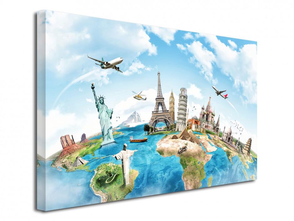Tableau toile deco dessin carte du monde