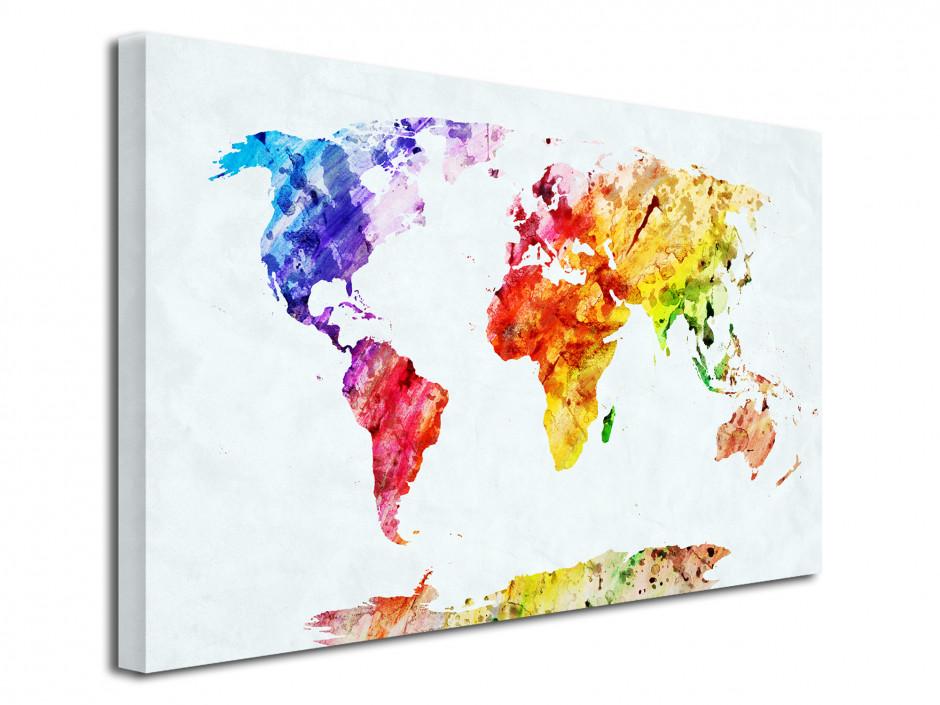 Cadre deco moderne carte du monde coloré