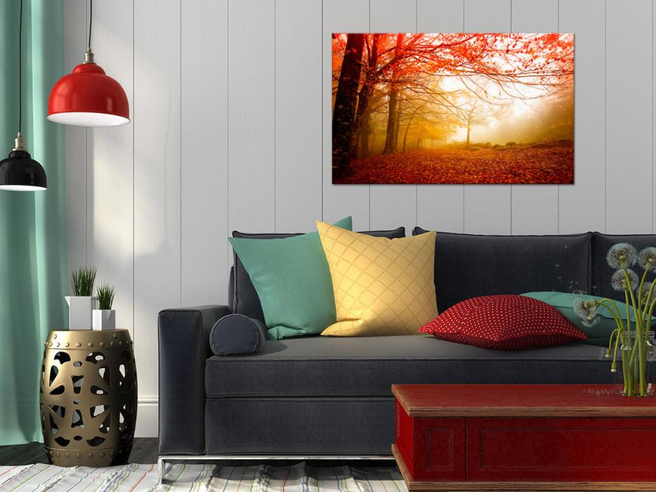 Tableau toile photo paysage FORÊT ORANGÉE