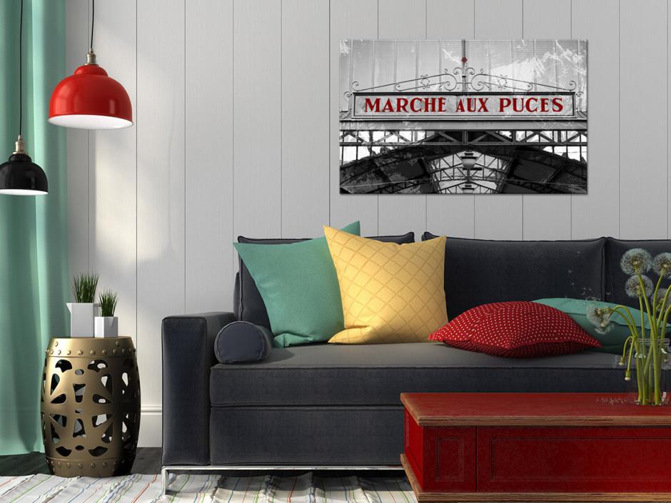 Tableau toile photo noir et blanc AU MARCHÉ