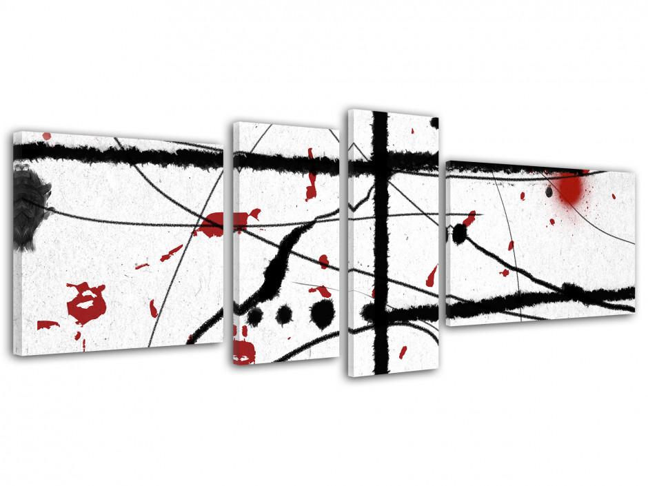 Tableau toile art moderne abstrait noir et rouge SANG